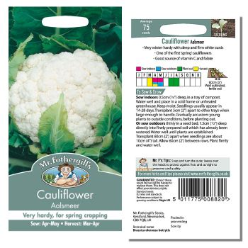 Mr. Fothergill Cauliflower Aalsmeer Seeds available from Strawberry Garden Centre, Uttoxeter
