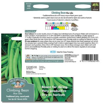 Mr. Fothergill Climbing Bean Blue Lake Seeds available from Strawberry Garden Centre, Uttoxeter