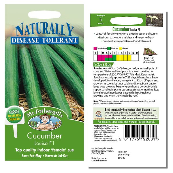 Mr. Fothergill Cucumber Louisa F1 Seeds available from Strawberry Garden Centre, Uttoxeter