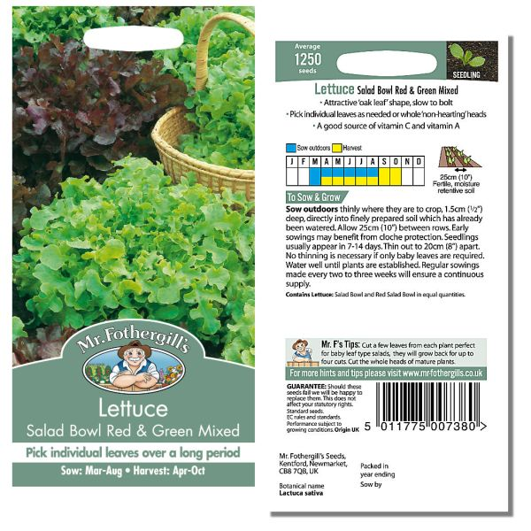 Mr. Fothergill Lettuce Salad Bowl Red & Green Mixed Seeds available from Strawberry Garden Centre, Uttoxeter