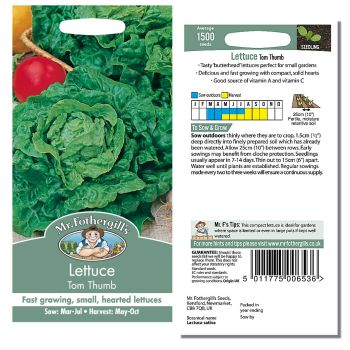 Mr. Fothergill Lettuce Tom Thumb Seeds available from Strawberry Garden Centre, Uttoxeter
