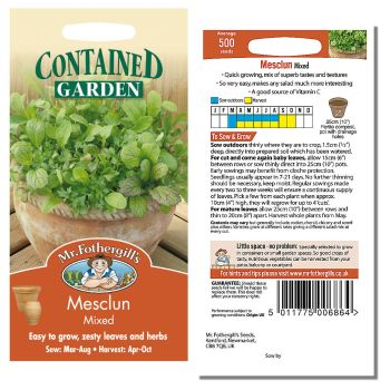 Mr. Fothergill Mesclun Mixed Seeds available from Strawberry Garden Centre, Uttoxeter