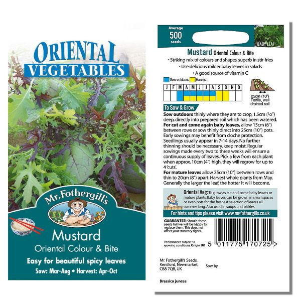 Mr. Fothergill Mustard Oriental Colour & Bite Seeds available from Strawberry Garden Centre, Uttoxeter