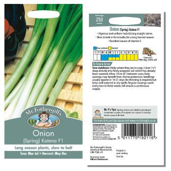 Mr. Fothergill Onion (Spring) Katana F1 Seeds available from Strawberry Garden Centre, Uttoxeter