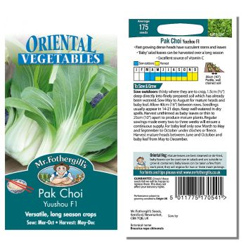 Mr. Fothergill Pak Choi Yuushou F1 Seeds available from Strawberry Garden Centre, Uttoxeter