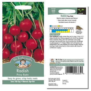 Mr. Fothergill Radish Prinz Rotin Seeds available from Strawberry Garden Centre, Uttoxeter
