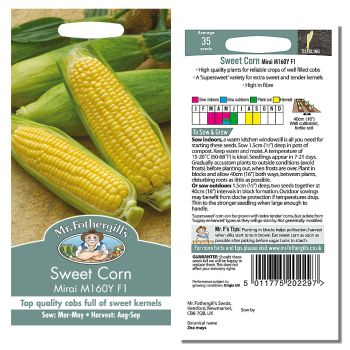 Mr. Fothergill Sweet Corn Mirai M160Y F1 Seeds available from Strawberry Garden Centre, Uttoxeter