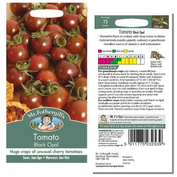 Mr. Fothergill Tomato Black Opal Seeds available from Strawberry Garden Centre, Uttoxeter