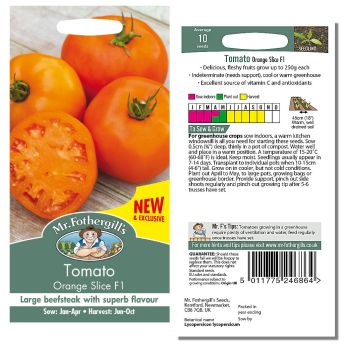 Mr. Fothergill Tomato Orange Slice F1 Seeds available from Strawberry Garden Centre, Uttoxeter