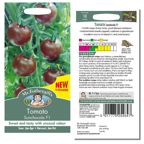 Mr. Fothergill Tomato Sunchocola F1 Seeds available from Strawberry Garden Centre, Uttoxeter