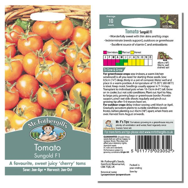 Mr. Fothergill Tomato Sungold F1 Seeds available from Strawberry Garden Centre, Uttoxeter