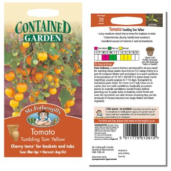 Mr. Fothergill Tomato Tumbling Tom Yellow Seeds available from Strawberry Garden Centre, Uttoxeter