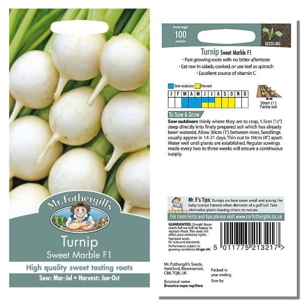 Mr. Fothergill Turnip Sweet Marble F1 Seeds available from Strawberry Garden Centre, Uttoxeter