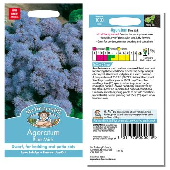 Mr. Fothergill Agertum Blue Mink Seeds available from Strawberry Garden Centre, Uttoxeter