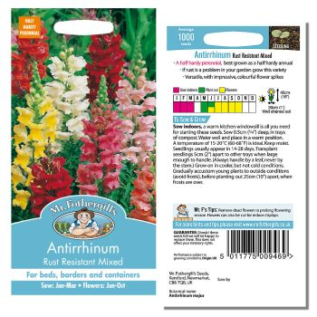 Mr. Fothergill Antirrhinum Rust resistant Mixed Seeds available from Strawberry Garden Centre, Uttoxeter