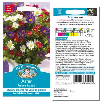Mr. Fothergill Aster Palette Mixed Seeds available from Strawberry Garden Centre, Uttoxeter