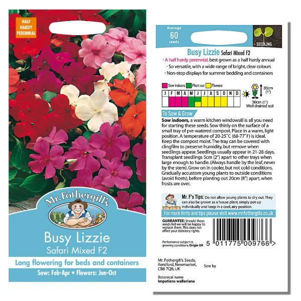 Mr. Fothergill Busy Lizzie Safari Mixed F2 Seeds available from Strawberry Garden Centre, Uttoxeter