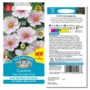 Mr. Fothergill Cosmos Tetra Versailles Flush Seeds available from Strawberry Garden Centre, Uttoxeter