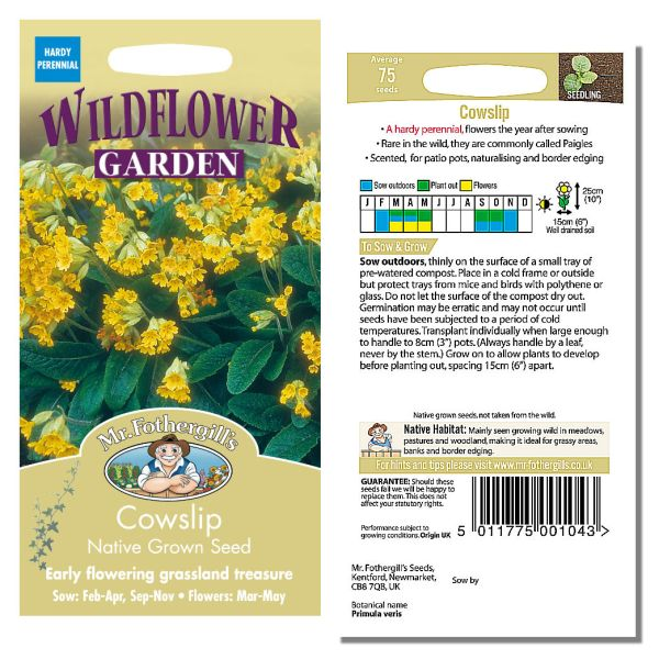 Mr. Fothergill Cowslip Native Grown Seeds available from Strawberry Garden Centre, Uttoxeter
