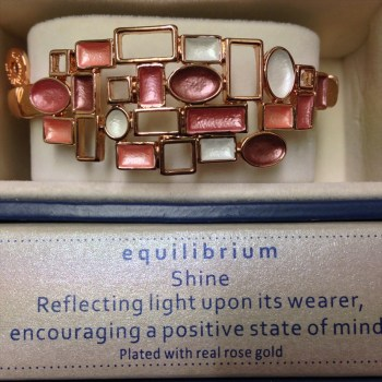 Equilibrium 274331 rose gold plated dusky tones modern half bracelet available from Strawberry Garden Centre, Uttoxeter