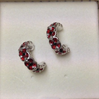 Equilibrium 274404 poppy half moon earrings available from Strawberry Garden Centre, Uttoxeter