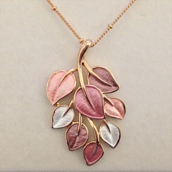 Equilibrium 274551B Rose Gold Plated Dusky Tones Leaves Necklace available from Strawberry Garden Centre, Uttoxeter