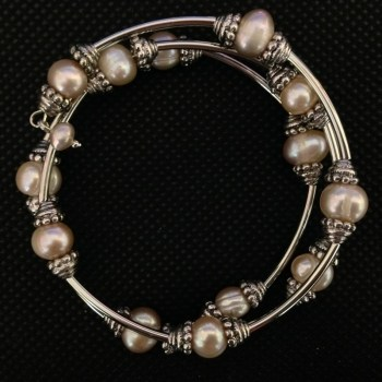 Equilibrium 64160 Peachy Cream wraparound Pearl Bracelet available from Strawberry Garden Centre, Uttoxeter