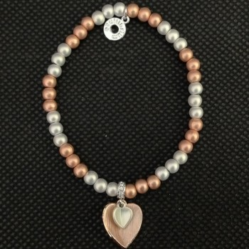 Equilibrium Rose Gold Plated Bead Heart Bracelet available from Strawberry Garden Centre, Uttoxeter