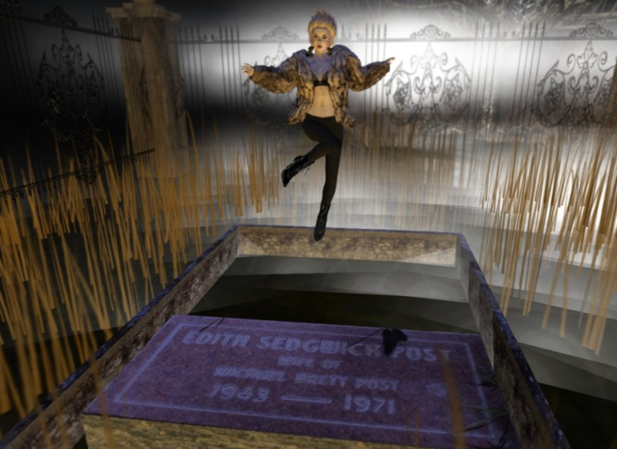 SL Resurrection: Photo of Edie Sedgwick hovering over her grave site.