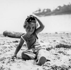 Sally Deaver on the Beach in Camden, Maine