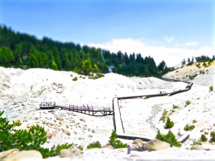 ...before the trails descend, and connect with several raised wooden walkways that traverse the unstable ground and lead towards particular points of interest.