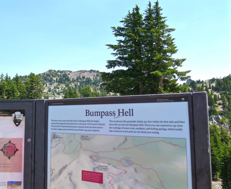 It is named Bumpass Hell because he actually fell in one of the steam geysers and ended up losing a leg.