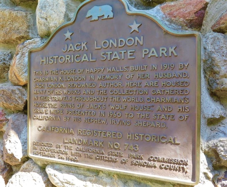 Jack London State Historic Park houses the London's collection in the Happy Halls House, which wife Charmain built after Jack's death. Most of the furniture was custom built for use in the ill-fated Wolf House, and a corner of the house is set up to preserve Jack's writing studio as it would have looked when he died.