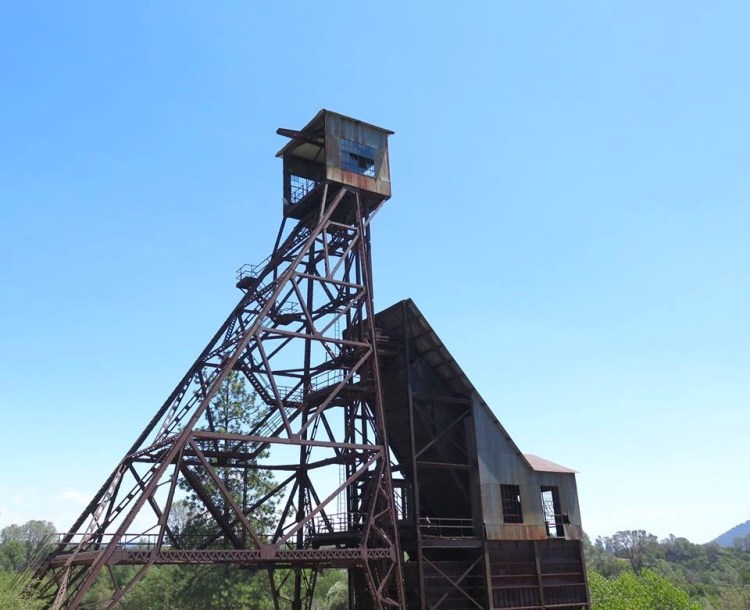 "Ore was hoisted to the surface of the mine, and processed in a stamp mill on the slope below the headframe. The Kennedy Mine had one of the largest stamp mills in the entire Mother Lode, with 100 stamps. Each stamp weighed nearly half a ton, and they were in constant motion, vertical hammers rising and falling, crushing the ore into a sand-like consistency. Mercury and other ""benign"" chemicals were used to separate the gold from the waste material. Mercury combines with gold to form a solid alloy called amalgam."