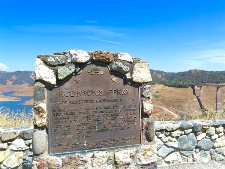 In the early years, many towns in the foothills changed their original names as more gold was discovered and seemingly overnight new land barons were created. Such is the story of the once sleepy town of Robinson's Ferry. In 1848, at the edge of the Stanislaus between Carson Hill and Sonora, the first ferryboat service operated on the river was opened by John W. Robinson at Robinson's Ferry. Historical accounts show that at the height of the Gold Rush, the two partners collected $10,000 in a six week period shuttling miners and supplies across the river. The town and ferry have been submerged beneath the waters of New Melones Lake. However, with the drought and low level of the lake, remnants of the old town and its mining history can be seen along the banks; the old stone foundations serving as a reminder of our early mining past.