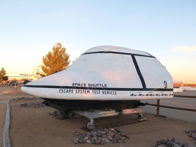 Space Shuttle Escape System Test Vehicle with markings of the 9 ejection tests conducted 1976 to 1977.