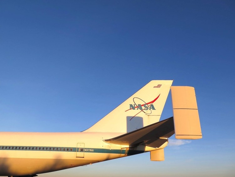 The tail of the Boeing 747 Space Shuttle Carrier 911. This modified and strengthened aircraft was operated by NASA from 1990 to 2012 to transport a Space Shuttle attached to its back from a NASA landing site to the Space Shuttle Facility at the Kennedy Space Centre.