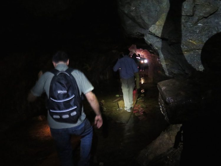 The mine was moist, wet and required several water crossings as we descended deeper into it.