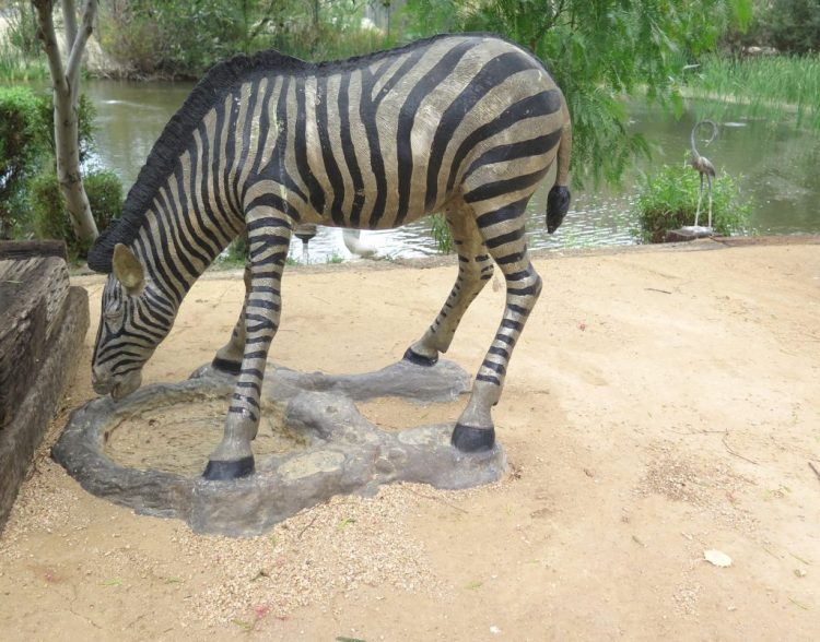 Only fake zebras roam the grounds of Shambala.