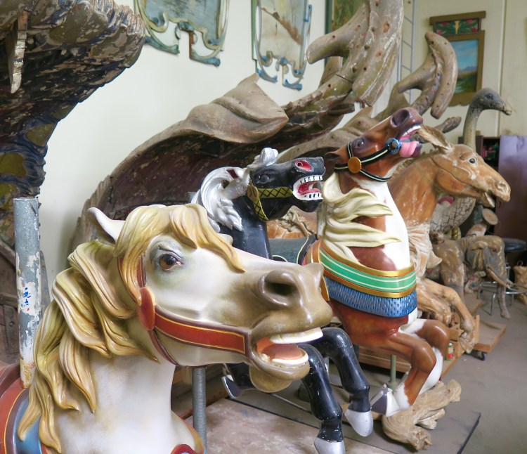 The Running Horse Studio in Irwindale, CA is one of the world's largest collections of antique carousel figures.