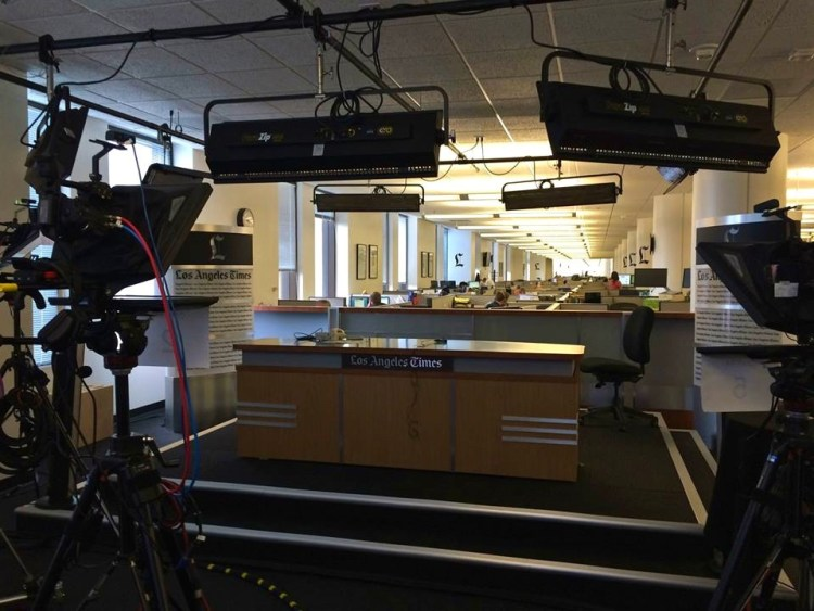 Their state of the art studio is used for Live TV News segments. The background takes advantage of the size of the newsroom which extends a full city block.