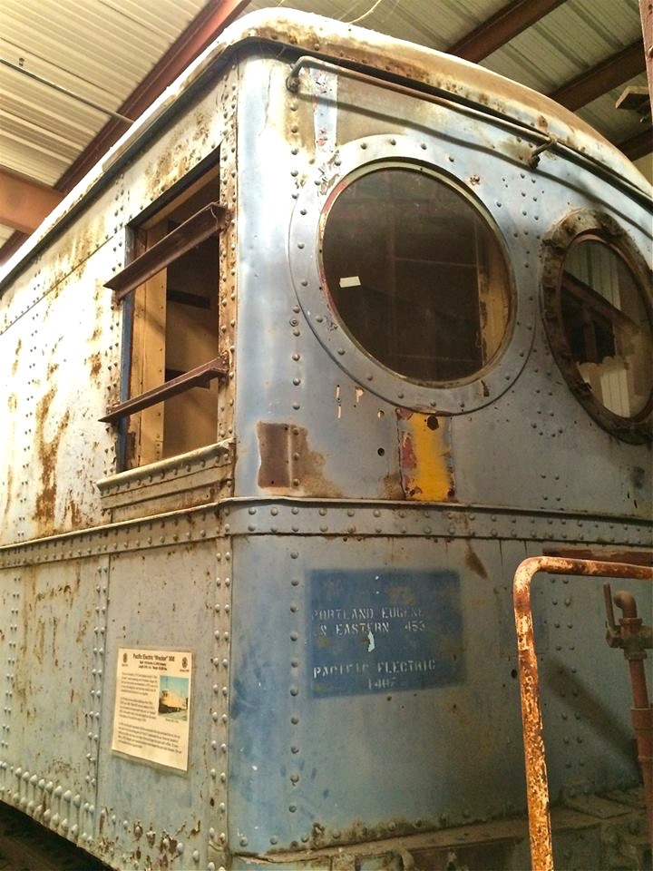 "PE-1407 - This car was built in 1913 for Southern Pacific's ""Red Electric"" system operating out of Portland, Oregon. As ""wrecker"" 008, it was used to move tools and supplies to the scene of accidents. It was sold for scrap in 1959 and eventually made it to the museum for its forever home."