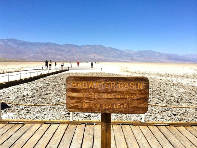 Badwater Basin is an endorheic basin in Death Valley National Park, Death Valley, Inyo County, California, noted as the lowest point in North America, with an elevation of 282 ft (86 m) below sea level