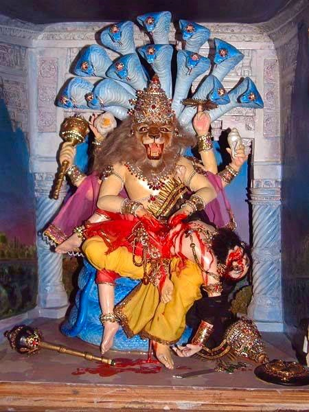 7. Krishna's Transcendental Manifestations The localized expansion of the Supreme Soul is a spiritual reflection of Krishna. In His original form Krishna resides eternally in His own transcendental realm called Goloka. He assumes varieties of spiritually perfect forms and appears in the physical universe to curb the rise of materialism and tyranny which obstruct the spiritual progress of humanity. He does this in many different ways which are always good and just. Matsya - appears at the time of the great inundation. Kurma - who prevented the demonic rulers from gaining dangerous powers.