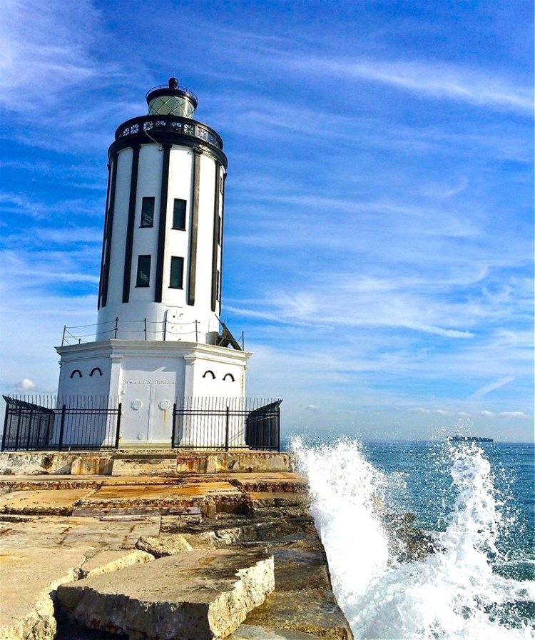 Designed differently than any other lighthouse, Angel's Gate is situated on a forty-foot concrete square. Built to withstand rough seas, the framework is structural steel, with steel plates to the second floor.