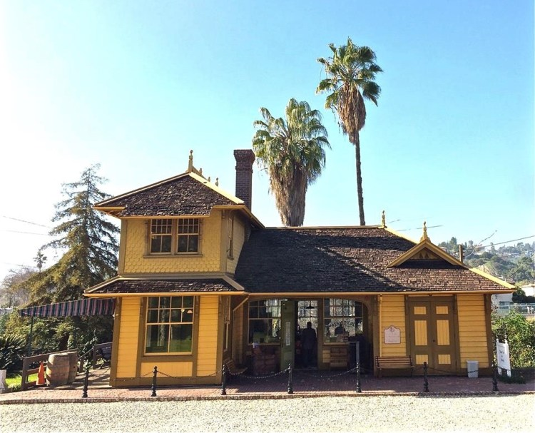 """The Palms-Southern Pacific Railroad Depot - Known informally as """"The Grasshopper Stop"""" when it was built by the Southern-Pacific in 1886, the Eastlake-style depot was soon renamed """"the Palms"""" and served as a stop between the city of Los Angeles and Santa Monica."""