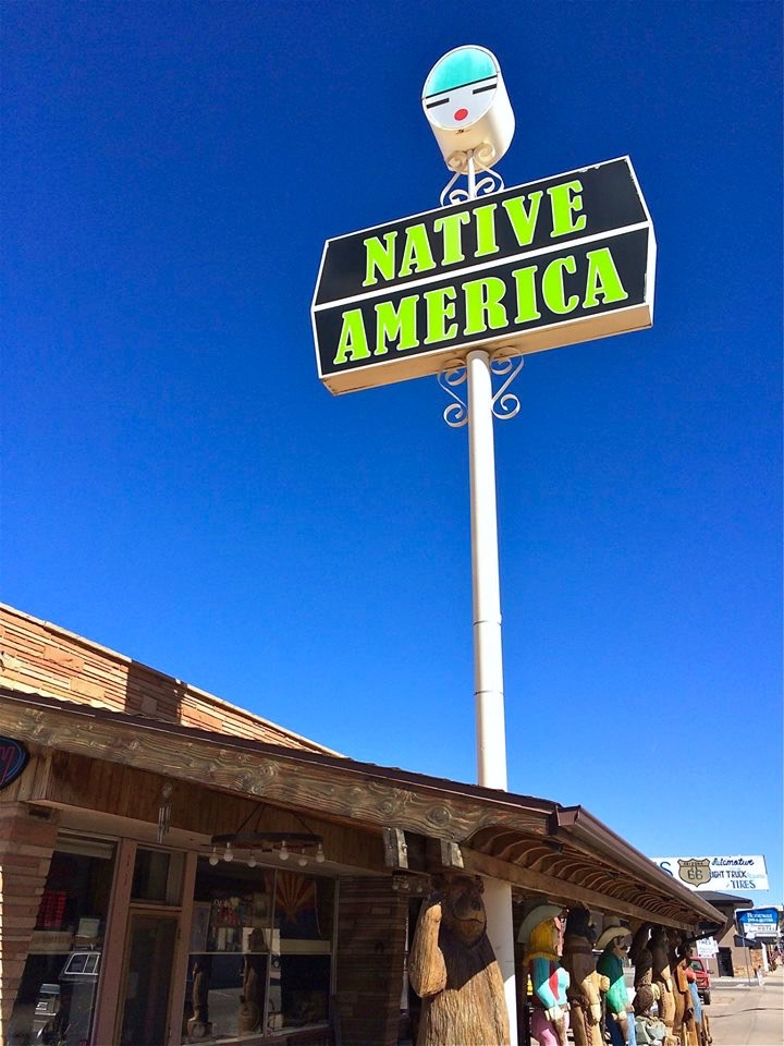Native America specializes in genuine Native American jewelry, Navajo rugs, basketry and artifacts generally from the Hopi, Navajo and Zuni Tribes. Love the sign.