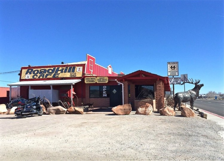 "Eclectic Route 66 eatery in Seligman, AZ. Food, stuffed animals and an Old West ""town"" with ample photo opportunities, including an old territorial jail."