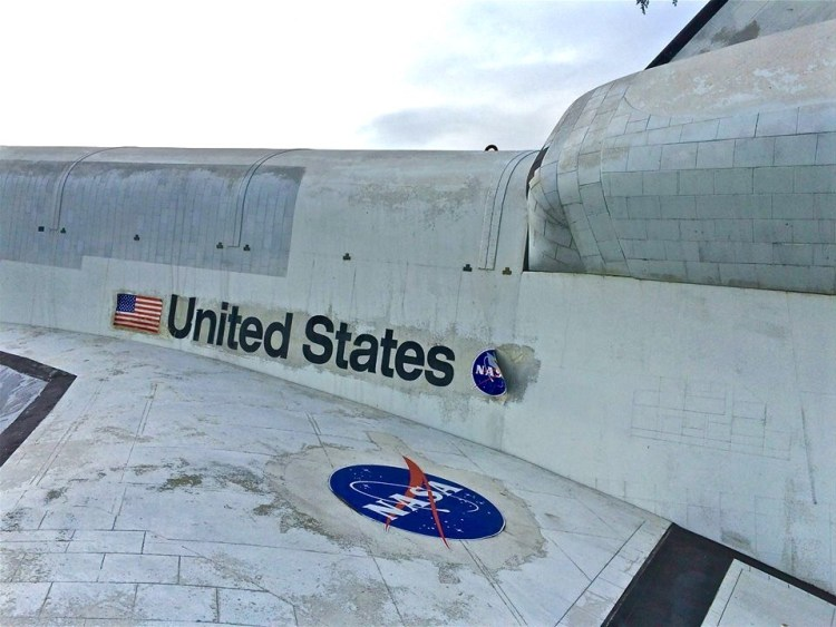 In 2007 the Portal was joined by a more modern, just as impressive, companion: a 21-foot-long model of the Space Shuttle (It's big, but not as big as the real thing, which is 122 feet long).