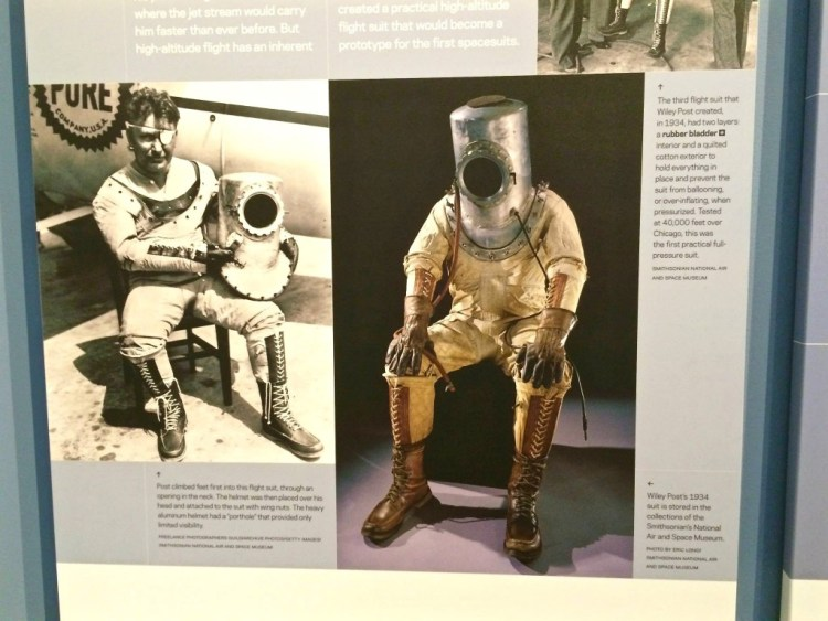 "Currently showing in one of the special exhibit galleries was ""Suited for Space"", which takes you on a journey through nearly a century of spacesuit design and development, from the earliest high-altitude pressure suits to the iconic white suits of Apollo and Skylab."
